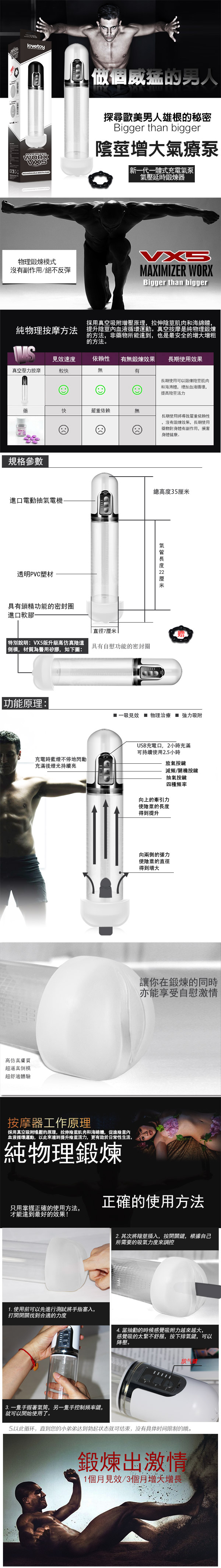 附圖2-Lovetoy.Maximizer Worx VX5 - USB充電式真空吸引陰莖鍛練自慰器-陰交版(白)