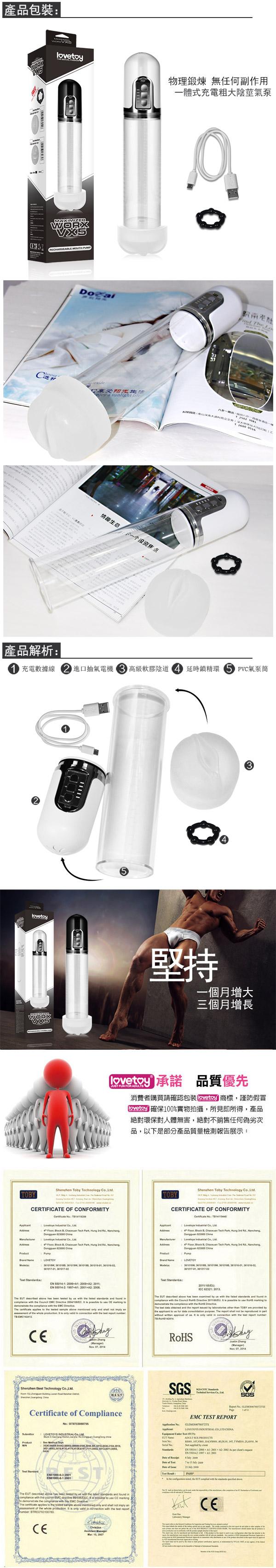 附圖3-Lovetoy.Maximizer Worx VX5 - USB充電式真空吸引陰莖鍛練自慰器-陰交版(白)