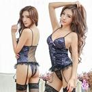 圖片-吊襪帶 浪漫紫蕾絲馬甲四件組