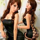 圖片-不羈狂熱!性感仿皮連身裙二件組#黑
