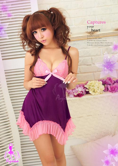 附圖2-初戀之愛!誘人柔緞睡襯衣#紫
