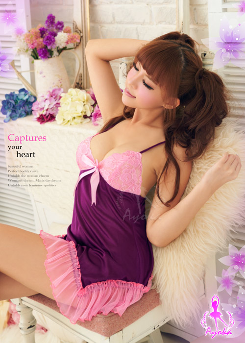 附圖3-初戀之愛!誘人柔緞睡襯衣#紫