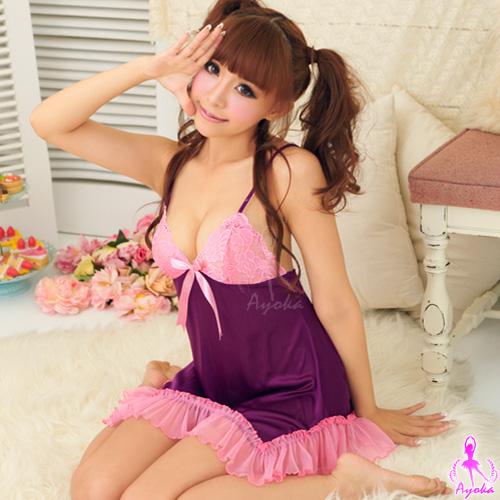 初戀之愛!誘人柔緞睡襯衣#紫