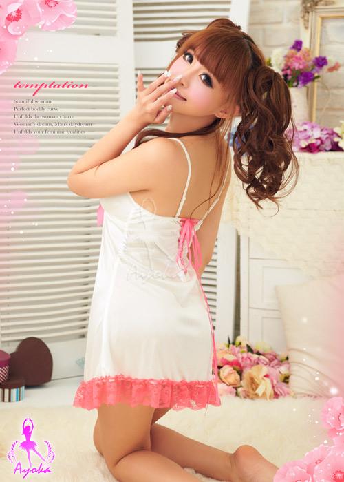 附圖4-深情微美!唯美柔緞睡襯衣#白