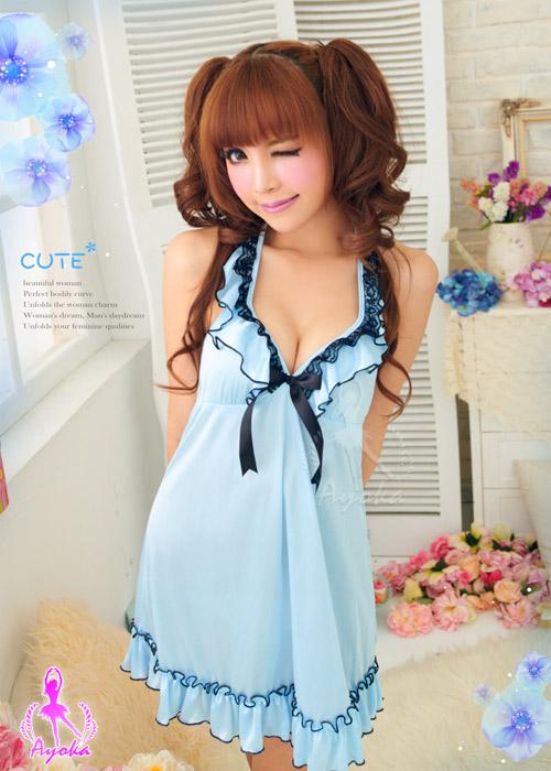 附圖2-空靈優雅!綁脖睡襯裙#藍