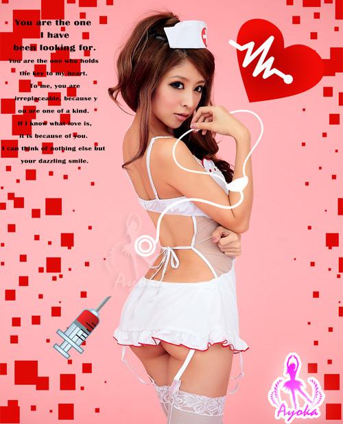 附圖5-姬情誘惑!裸背五件式吊襪帶護士服