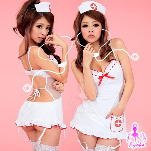 姬情誘惑!裸背五件式吊襪帶護士服