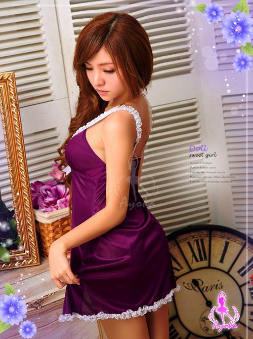 附圖4-【Ayoka】夢想啟動!開襟二件式睡襯衣#紫