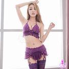 圖片-吊襪帶 紫色魅惑蕾絲綁脖式比基尼四件組