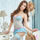 圖片-吊襪帶 淺藍蕾絲長馬甲四件組