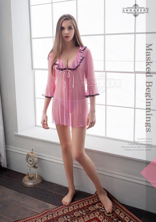 附圖2-大尺碼Annabery粉色透視甜美柔紗二件式罩衫丁褲組#f粉