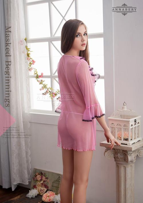 附圖3-大尺碼Annabery粉色透視甜美柔紗二件式罩衫丁褲組#f粉