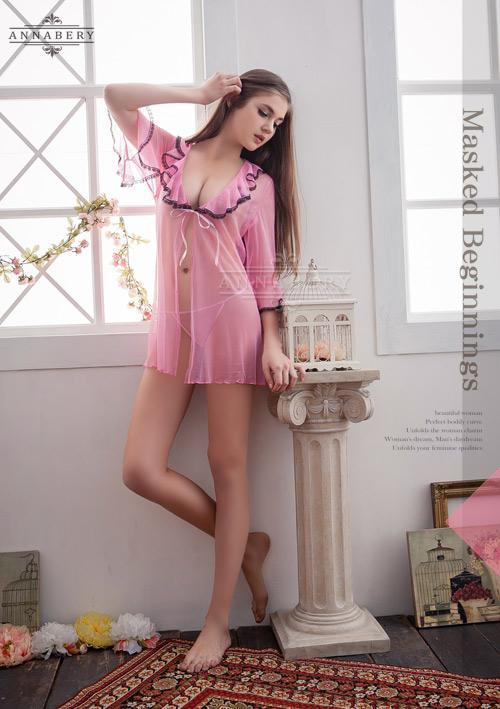 附圖4-大尺碼Annabery粉色透視甜美柔紗二件式罩衫丁褲組#f粉