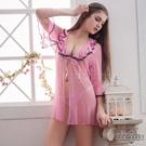 圖片-大尺碼Annabery粉色透視甜美柔紗二件式罩衫丁褲組#f粉