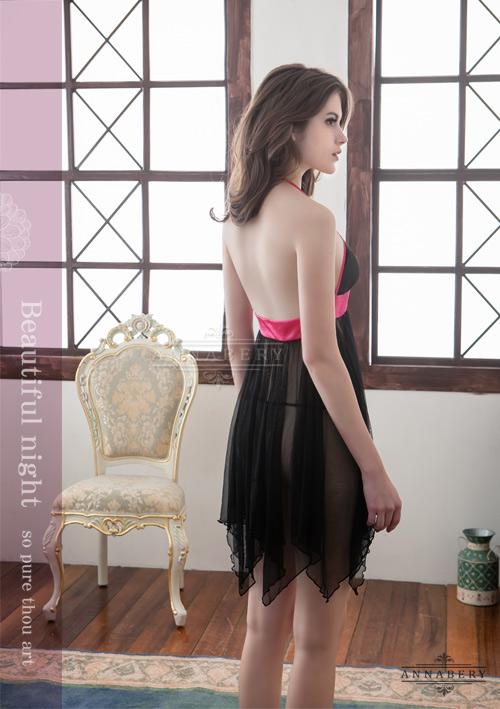 附圖6-大尺碼Annabery黑色綁脖二件式柔紗睡衣#黑