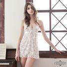 圖片-大尺碼Annabery白緹花柔紗綁脖二件式睡衣