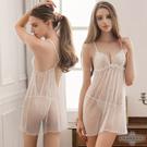 圖片-大尺碼Annabery純白透視美背柔紗二件式睡衣#白
