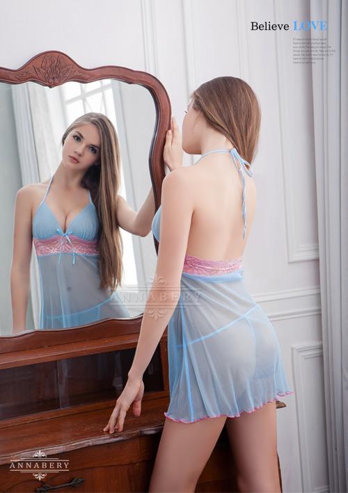 附圖3-大尺碼Annabery藍粉甜心柔紗二件式睡衣#藍