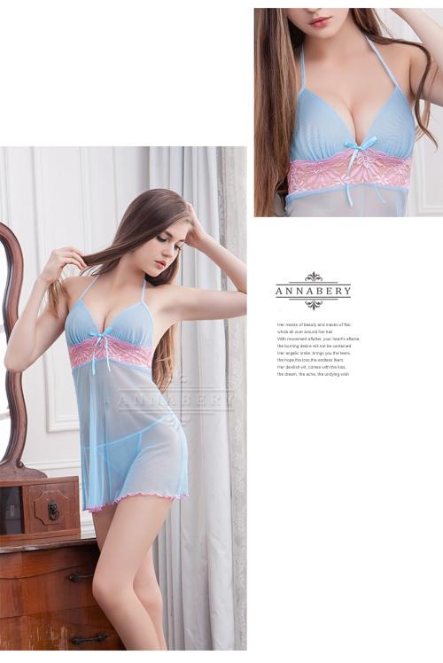 附圖7-大尺碼Annabery藍粉甜心柔紗二件式睡衣#藍