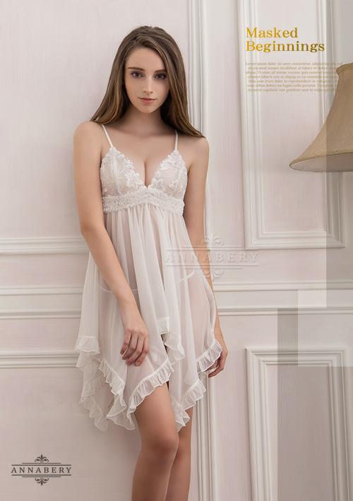 附圖3-大尺碼Annabery純白透視不規則裙襬二件式睡衣#白