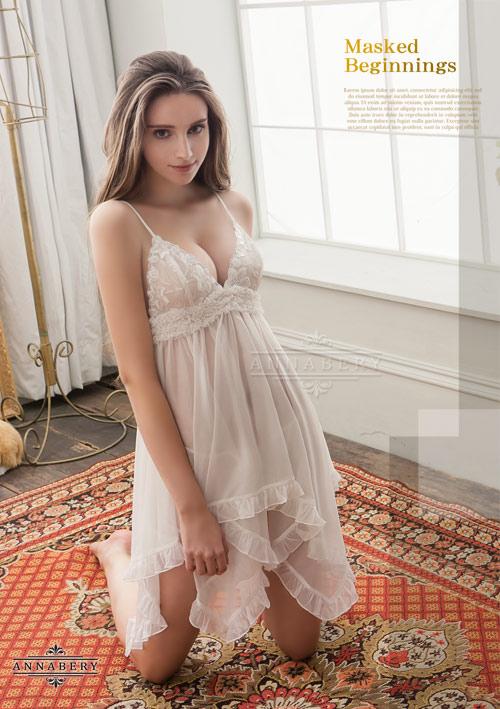 附圖4-大尺碼Annabery純白透視不規則裙襬二件式睡衣#白