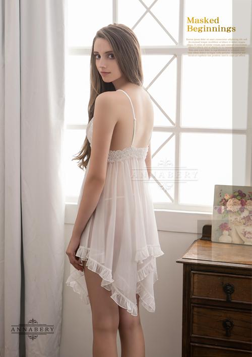 附圖6-大尺碼Annabery純白透視不規則裙襬二件式睡衣#白