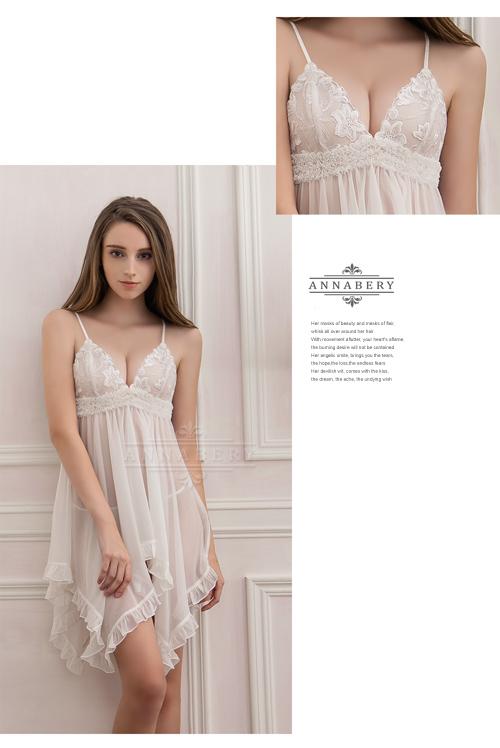 附圖7-大尺碼Annabery純白透視不規則裙襬二件式睡衣#白