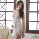 圖片-大尺碼Annabery純白雙層交疊薄紗二件式透視睡衣#白
