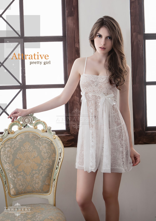 附圖2-大尺碼Annabery純白透視雙層蕾絲二件式性感睡衣