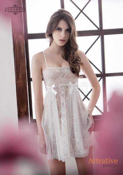 附圖3-大尺碼Annabery純白透視雙層蕾絲二件式性感睡衣