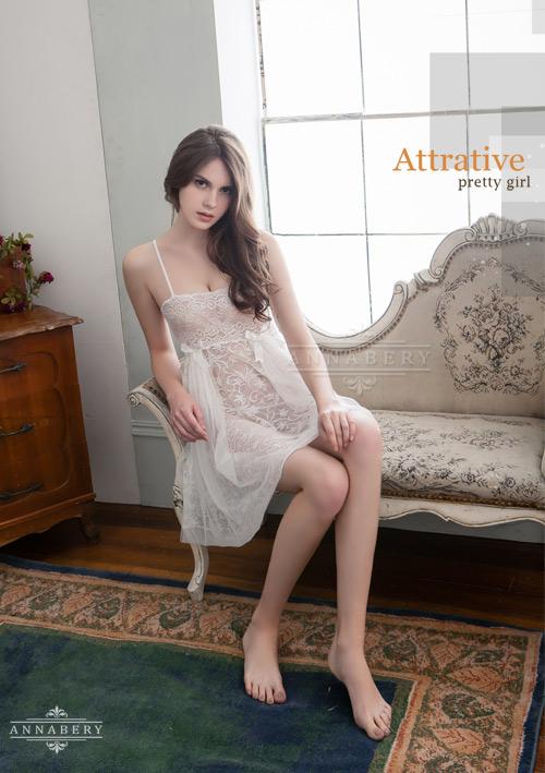 附圖4-大尺碼Annabery純白透視雙層蕾絲二件式性感睡衣