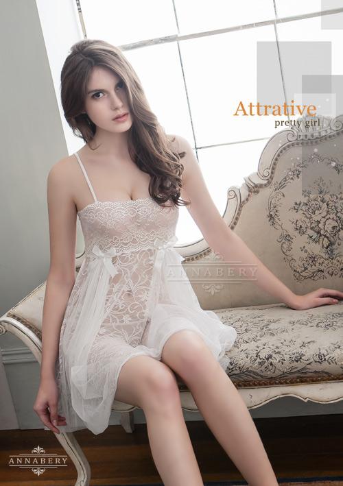 附圖5-大尺碼Annabery純白透視雙層蕾絲二件式性感睡衣