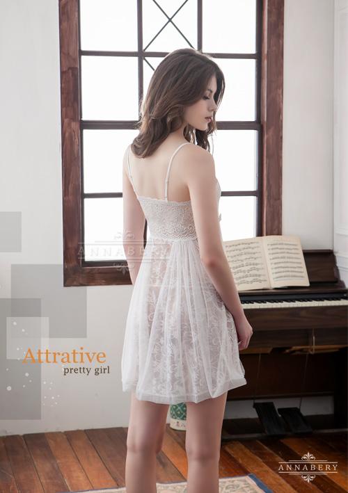 附圖6-大尺碼Annabery純白透視雙層蕾絲二件式性感睡衣