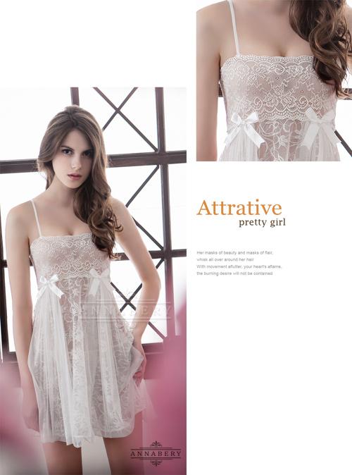 附圖7-大尺碼Annabery純白透視雙層蕾絲二件式性感睡衣