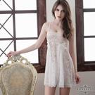 圖片-大尺碼Annabery純白透視雙層蕾絲二件式性感睡衣