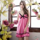圖片-大尺碼Annabery亮麗粉紅動人柔緞睡衣