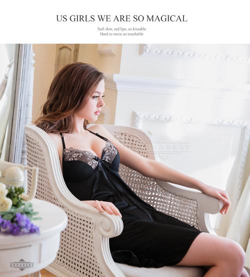 附圖5-大尺碼Annabery性感黑背後開襟柔緞二件式睡衣