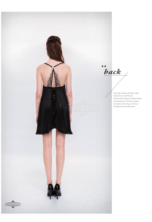 附圖8-大尺碼Annabery性感黑背後開襟柔緞二件式睡衣