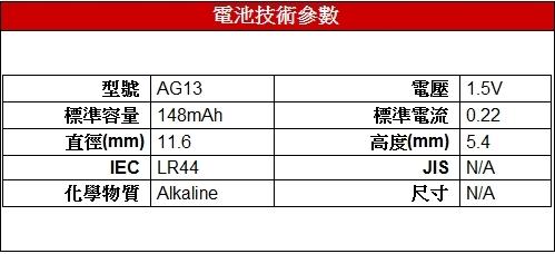 附圖2-【TIANQIU】AG13、LR44 鈕釦水銀電池﹝10顆裝﹞