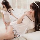 圖片-純潔魅力!薄紗蕾絲二件式公主睡衣#白