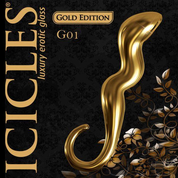 美國進口PIPEDREAM.ICICLES冰晶玻璃奢華金系列-G點彎曲按摩棒-G01